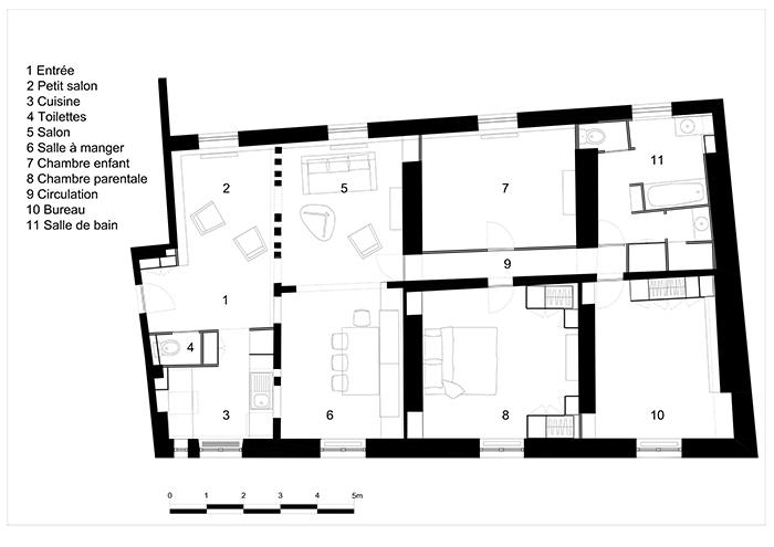 Rénovation d'un appartement parisien du XVIIème siècle
