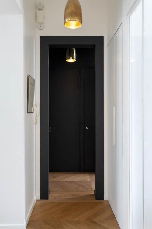 L'entrée. Point stratégique du projet. C'est à ce niveau que s'effectue la jonction entre les 3 appartements.