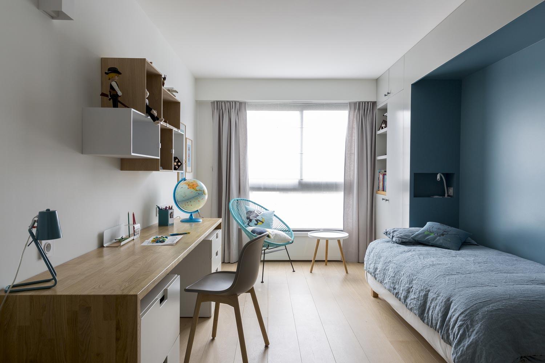 chambre enfant alcove bleu stoneblue placards