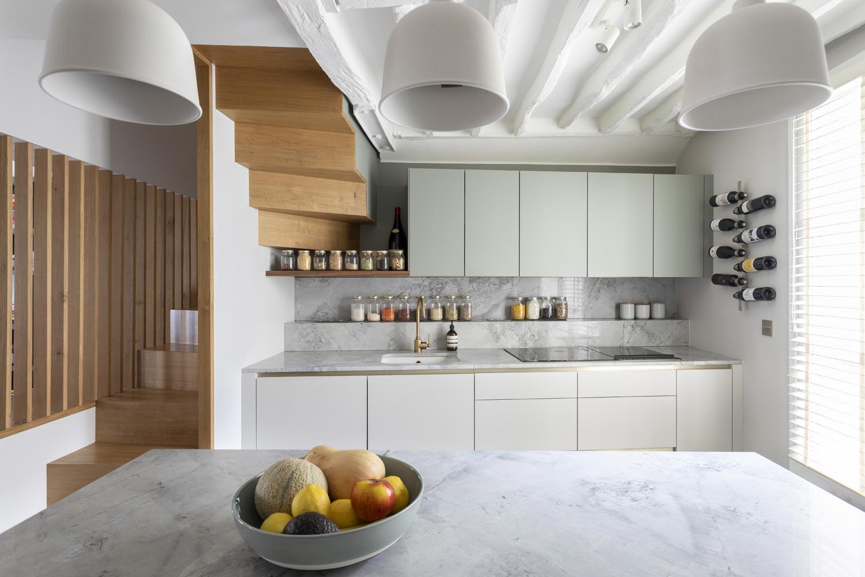 cuisine sur mesure marbre vert