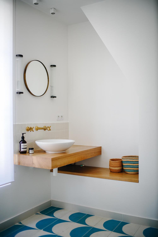 lavabo bois appliques vintage