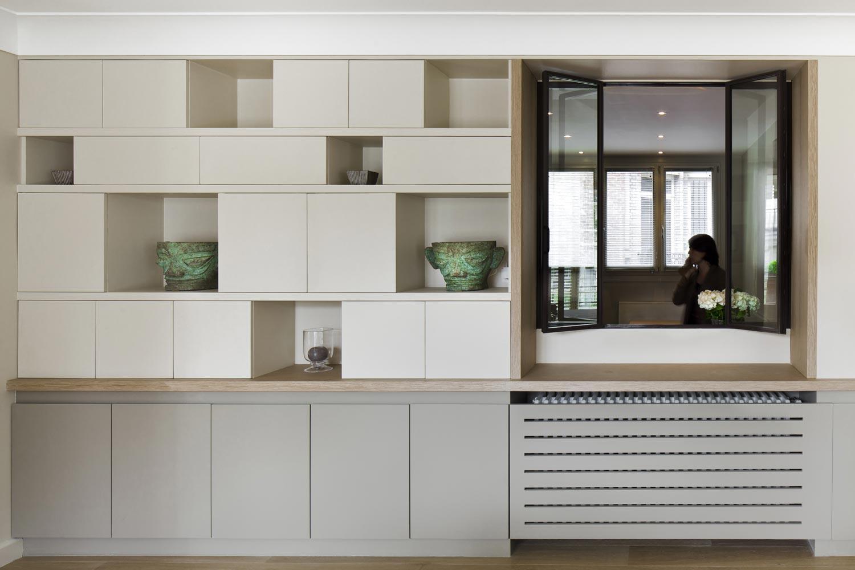 meuble niche sur mesure blanc gris