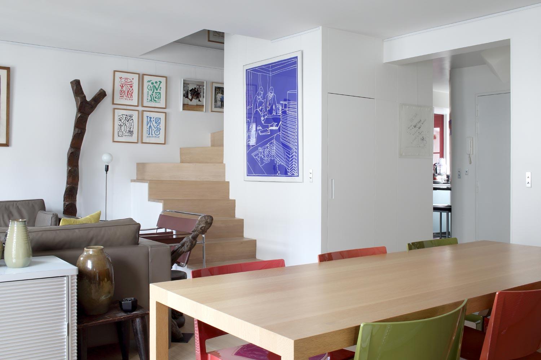 salon coin repas contemporain tableaux