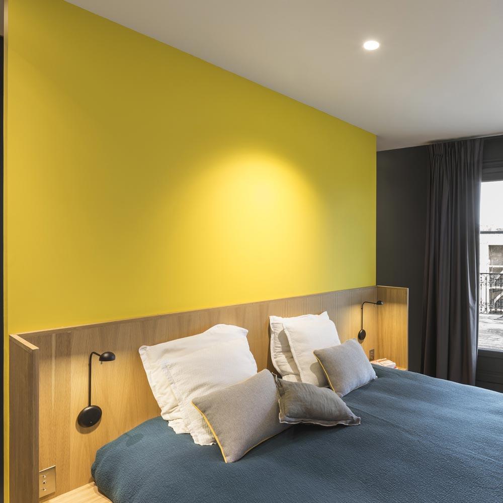 tete de lit chene et jaune or
