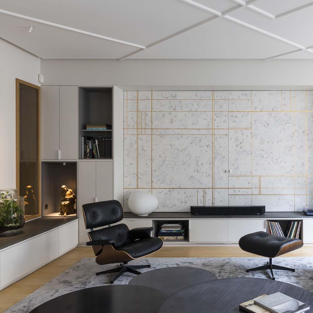 meuble hifi panneau blanc dore